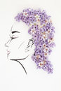Hand drawn female profile with natural flowers hairstyle Royalty Free Stock Photo