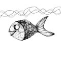 Hand drawn fish in the sea Stock Photos