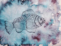 Hand drawn fish on watercolor background Royalty Free Stock Images
