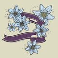 Hand drawn floral background with ribbons this is file of eps format Stock Photos