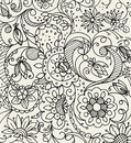 Hand drawn floral doodle pattern with graphic elements flowers and leaves in two color style Royalty Free Stock Photo