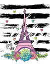 Hand drawn floral love card, eiffel tower, vector Royalty Free Stock Photo