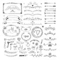 Hand drawn floral page elements. Swirls, ribbons Royalty Free Stock Photo