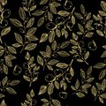 Hand drawn blossom gold on black floral seamless pattern vector