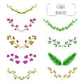 Hand drawn floral set of branches.