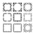 Hand drawn floral square frames for the page decoration. Royalty Free Stock Photo