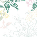 Hand drawn floral vector with lace design element and pastel nature illustrations of green ferns ivy and flowers