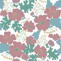 Hand drawn floral vector seamless pattern. Modern pastel colors and dark background.