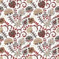 Hand drawn flower seamless pattern. Colorful seamless pattern with fantasy flowers and leaves. Doodle style. Perfect for Royalty Free Stock Photo
