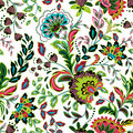Hand drawn flower seamless pattern. Colorful seamless pattern with pargeting grunge whimsical flowers, paisley Royalty Free Stock Photo