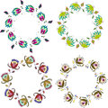 Hand drawn flower wreath, set of vector clip art floral frames Royalty Free Stock Photo