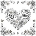 Hand drawn flowers and birds for the anti stress coloring page. Vector heart made of flowers and birds. Royalty Free Stock Photo