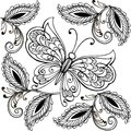 Hand drawn flowers and butterflies for the anti stress coloring page. Floral seamless ornament with butterflies Royalty Free Stock Photo