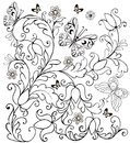 Hand drawn flowers and butterflies for the anti stress coloring page. Royalty Free Stock Photo