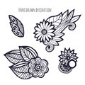 Hand drawn flowers. Coloring page decoration. Vector set with whimsical flower Royalty Free Stock Photo