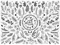 Hand drawn flowers ornament. Ornamental sketch flourish flower. Vintage floral ornaments isolated vector elements set
