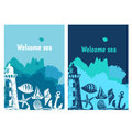 Hand drawn flyers with sings on theme sea. Vector Royalty Free Stock Photo