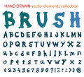 Hand drawn font brush stroke alphabet grunge style vector elements collection Stock Image
