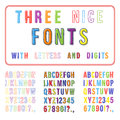 Hand drawn font set handwriting alphabet abc with digits vector Stock Photo