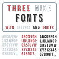 Hand drawn font set handwriting alphabet abc with digits vector Stock Images