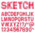Hand drawn font sketchy alphabet handwritten isolated in white background vector illustration Stock Photography