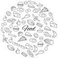Hand Drawn Food Round Set