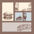 Hand drawn food sketch cards for menu restaurant product and doodle meal cuisine vector illustration.