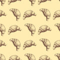 Hand drawn food sketch for menu seamless pattern product and doodle croissant vector illustration.