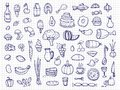 Hand drawn food, vegetables, drinks, snacks, fast food doodle vector icons Royalty Free Stock Photo