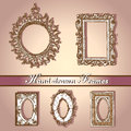 Hand drawn frames beautiful classical on rose background Stock Photos