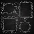 Hand drawn frames chalk on board set of vector illustration Stock Photo