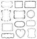 Hand drawn frames set with different ornaments Royalty Free Stock Images