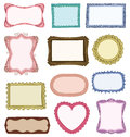 Hand drawn frames set with different ornaments Royalty Free Stock Photos