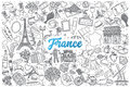 Hand drawn France doodle set with lettering