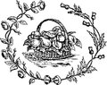 Hand drawn fruit basket illustration of a wreath with Stock Images