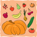 Hand drawn fruits and vegetables collection Stock Photography