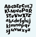 Hand drawn fun vector alphabet set.