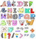 Hand-drawn funny alphabet Royalty Free Stock Images