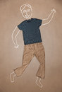 Hand drawn funny character in casual clothes cute Royalty Free Stock Image
