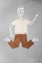 Hand drawn funny character in casual clothes