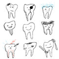 Hand drawn funny teeth icons collection Royalty Free Stock Photo