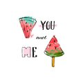 Hand drawn Funny vector background with watermelon slices,freehand textures and modern handwritten funny calligraphy