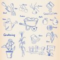 Hand Drawn Garden Icon Set Royalty Free Stock Photos