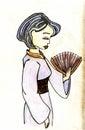Hand drawn geisha vector illustration watercolor Royalty Free Stock Images