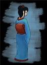 Hand drawn geisha vector illustration watercolor Royalty Free Stock Image