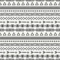 Hand drawn geometric ethnic seamless pattern
