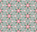 Hand drawn geometric flower hexagon seamless pattern. Floral tex