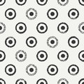 Hand drawn geometric seamless ink polka dot pattern. Wrapping paper. Abstract vector background. Round brush strokes