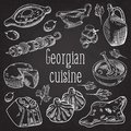 Hand Drawn Georgian Food on Chalkboard. Georgia Traditional Cuisine Royalty Free Stock Photo