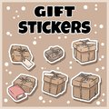 stock image of  Hand drawn gift boxes stickers set. Cartoon doodles